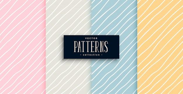 Elegantes patrones de líneas dibujadas a mano en cuatro colores.