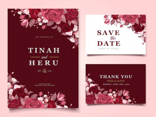 Elegantes plantillas de tarjetas de boda con flores y hojas granate