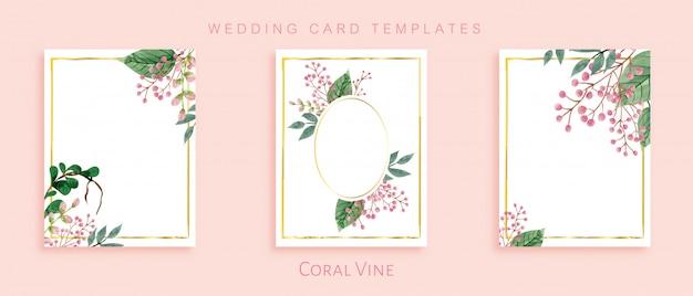 Elegantes plantillas de tarjetas de boda