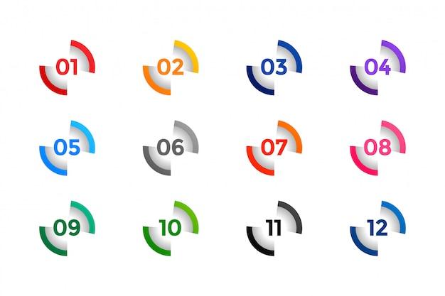 Elegantes puntos de número de buller del uno al doce