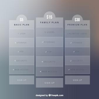 Elegantes tablas de planes de subscripción en color gris