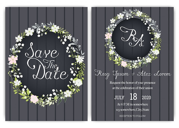 Elegantes tarjetas de boda consisten en varios tipos de flores.