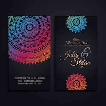 Elegantes tarjetas de boda en estilo de mandala colorido