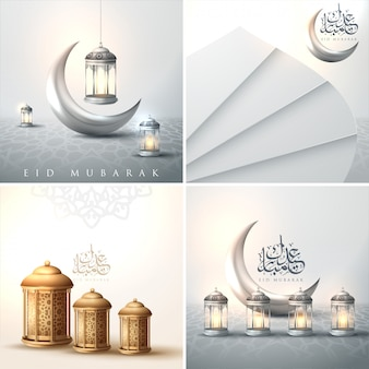 Elegantes tarjetas de felicitación decoradas con diseño floral dorado y luna creciente.