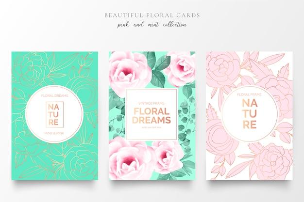 Elegantes tarjetas florales en colores rosa y menta.