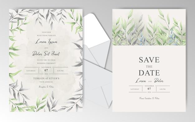 Elegantes tarjetas de invitación de boda en acuarela con hermosas hojas