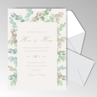 Elegantes tarjetas de invitación de boda en acuarela con hermosos eucaliptos