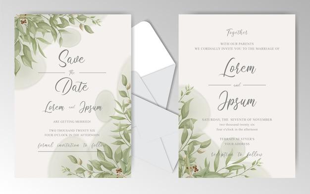 Elegantes tarjetas de invitación de boda floral con hermosas hojas