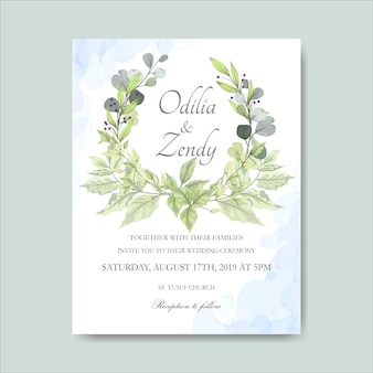 Elegantes tarjetas de invitación de boda floral