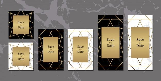 Elegantes tarjetas de invitación de mármol blanco y negro
