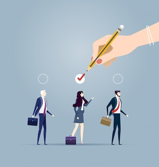 Elegir al mejor candidato para el concepto de trabajo. ilustración del concepto de negocio