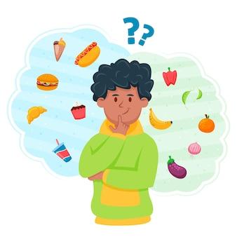 Elegir entre alimentos saludables o no saludables con el hombre pensando