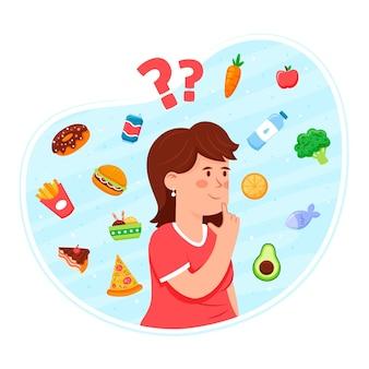 Elegir entre alimentos saludables o no saludables con una mujer pensando