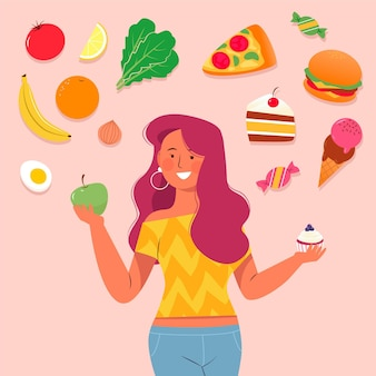Elegir entre alimentos saludables o no saludables