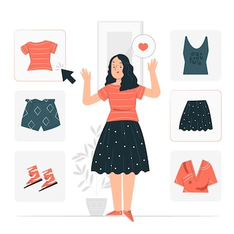 Elegir la ilustración del concepto de ropa