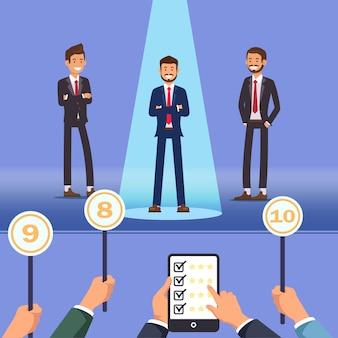 Elegir el mejor empleado. los hombres se paran en el escenario. vector