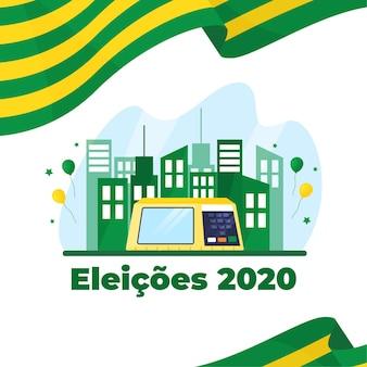 Eleições para la ilustración de bazil con bandera y edificios