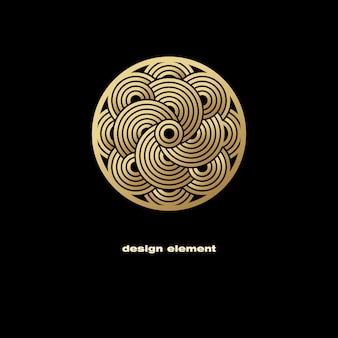 Elemento abstracto dorado y negro