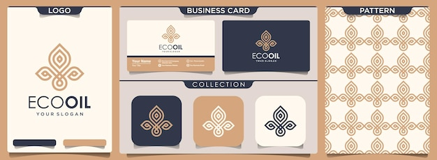 Elemento abstracto de hoja y aceite del conjunto de diseño de logotipo, patrón y tarjeta de visita