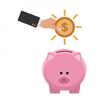 Elemento de ahorro de dinero de negocios