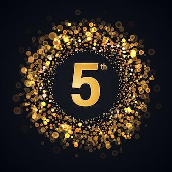 Elemento aislado de aniversario de 5 años. logotipo de cinco cumpleaños con efecto de luz borrosa en la oscuridad