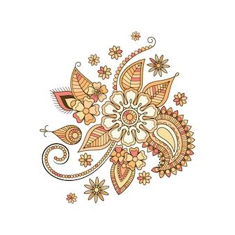Elemento aislado floral decorativo colorido beige