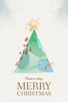 Elemento de árbol de navidad en acuarela