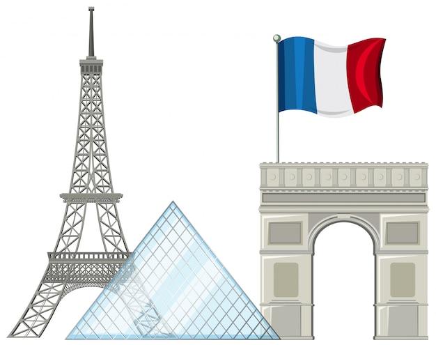 Elemento de atracción turística de parís, francia
