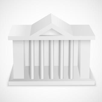 Elemento en blanco del edificio del banco