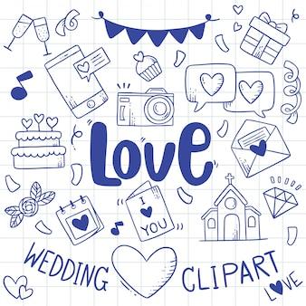 Elemento de boda garabatos de fiesta dibujados a mano
