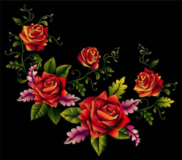 Elemento de bordado de ramo hermoso de rosas rojas para el diseño