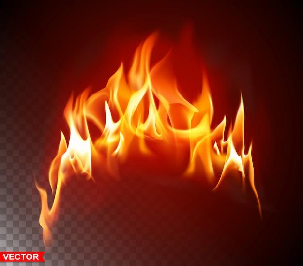 Elemento brillante de llama de fuego ardiente realista