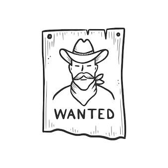 Elemento buscado de vaquero bandido dibujado a mano. estilo de dibujo cómico del doodle. bandido vaquero, icono del concepto occidental. ilustración de vector aislado.