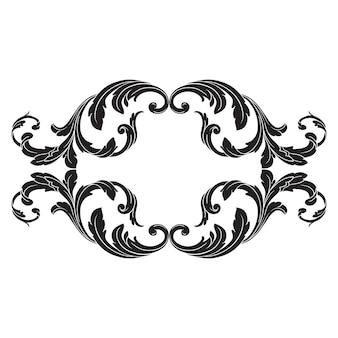 Elemento clásico barroco vintage. elemento decorativo de diseño en filigrana.