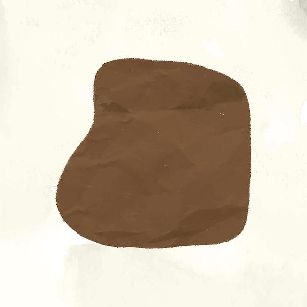 Elemento de collage de forma marrón, papel abstracto con textura en vector de tono tierra