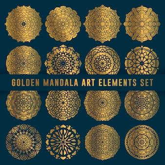 Elemento conjunto de arte de oro mandala detallado