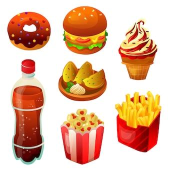 Elemento de conjunto de colección de comida rápida