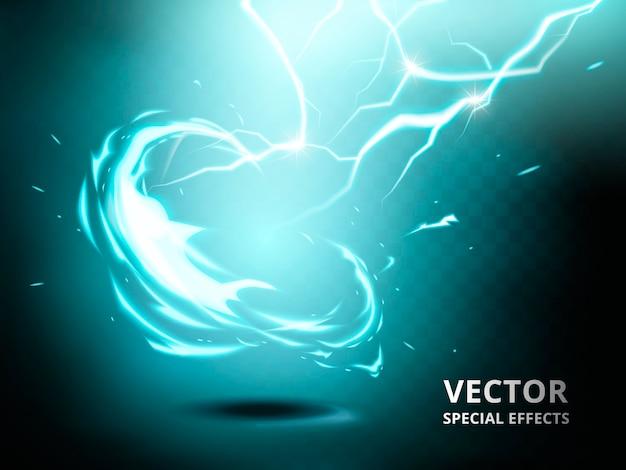 Elemento de corriente eléctrica que se puede utilizar como efecto especial, fondo verde azulado