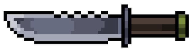 Elemento de cuchillo de pixel art para bit de juego sobre fondo blanco.