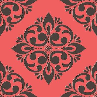 Elemento de damasco de patrones sin fisuras. adorno de damasco antiguo de lujo clásico
