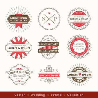 Elemento de diseño de insignia de marco de logotipo boda retro hipster moderno
