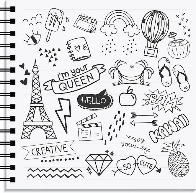 Elemento de icono y diseño conjunto de estilo de garabato dibujado a mano