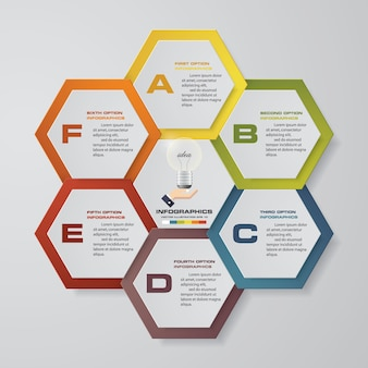 Elemento de infografía con 6 pasos para la presentación de datos.