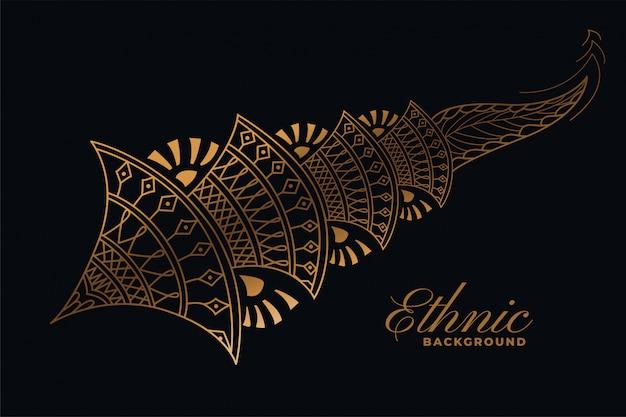 Elemento decorativo de estilo mehndi ornamental dorado