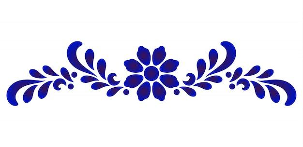 Elemento decorativo de flor azul y blanca para porcelana y cerámica de diseño.