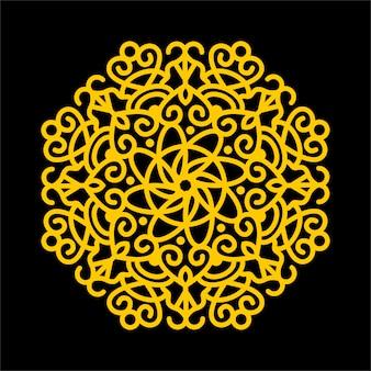 Elemento decorativo mandala flor amarilla