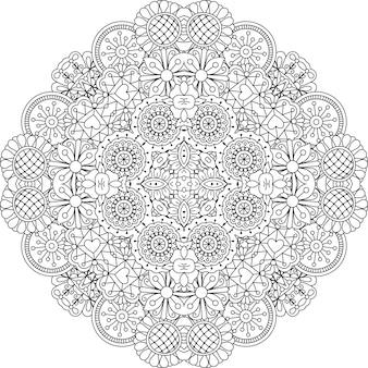 Elemento decorativo redondo estilo encaje floral.