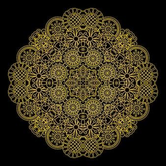 Elemento decorativo redondo floral de oro.