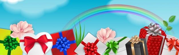 Elemento decorativo con regalos y arco iris