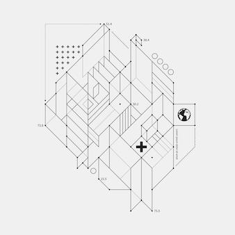 Elemento de diseño abstracto en estilo de borrador sobre fondo blanco. útil para las impresiones del techno y los carteles.